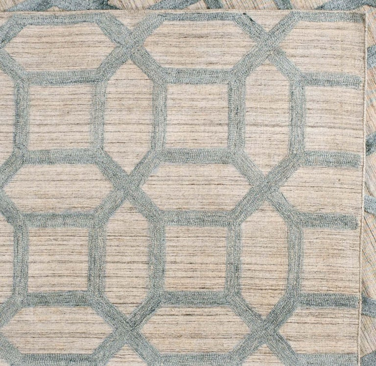 Geometrische hoch niedrig zeitgenössische Teppich in blauem Leinen 2
