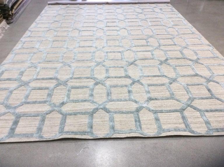 Geometrische hoch niedrig zeitgenössische Teppich in blauem Leinen 3