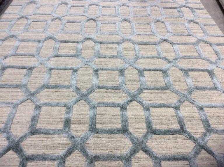 Geometrische hoch niedrig zeitgenössische Teppich in blauem Leinen 4