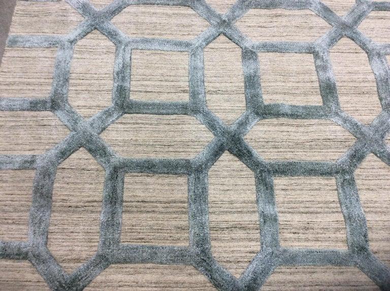 Geometrische hoch niedrig zeitgenössische Teppich in blauem Leinen 5
