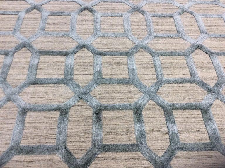 Geometrische hoch niedrig zeitgenössische Teppich in blauem Leinen 6