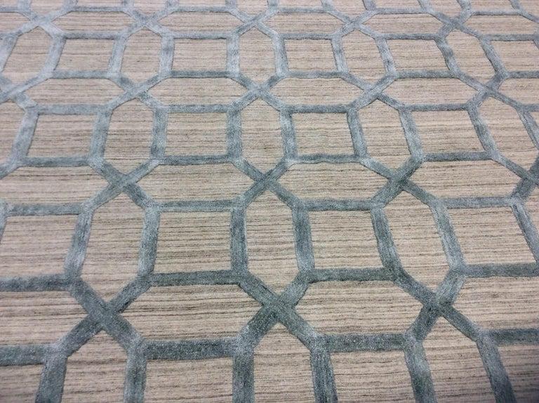 Geometrische hoch niedrig zeitgenössische Teppich in blauem Leinen 7