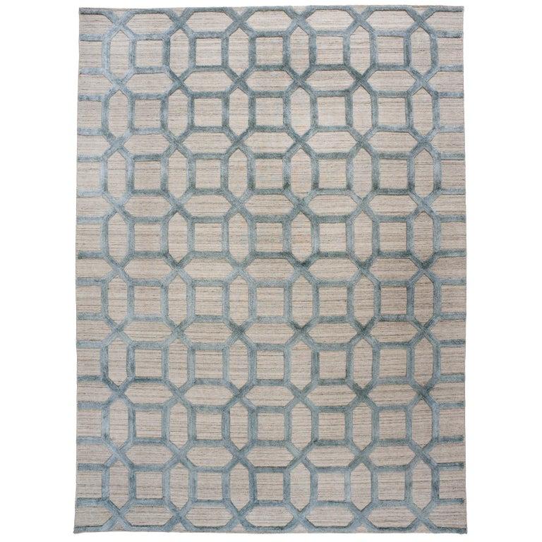 Geometrische hoch niedrig zeitgenössische Teppich in blauem Leinen 1