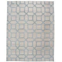 Geometrische hoch niedrig zeitgenössische Teppich in blauem Leinen
