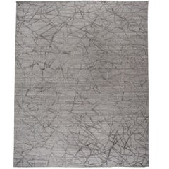 Geometric High Low Contemporary Rug in Taupe