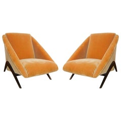 Geometric Italian Club / Lounge Chairs Attributed to Gio Ponti