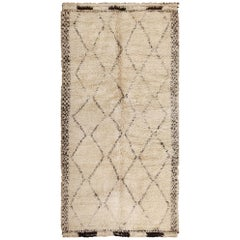Vintage Ivory Shag Moroccan Beni Ourain Rug. Size: 6 ft 3 in x 12 ft 2 in
