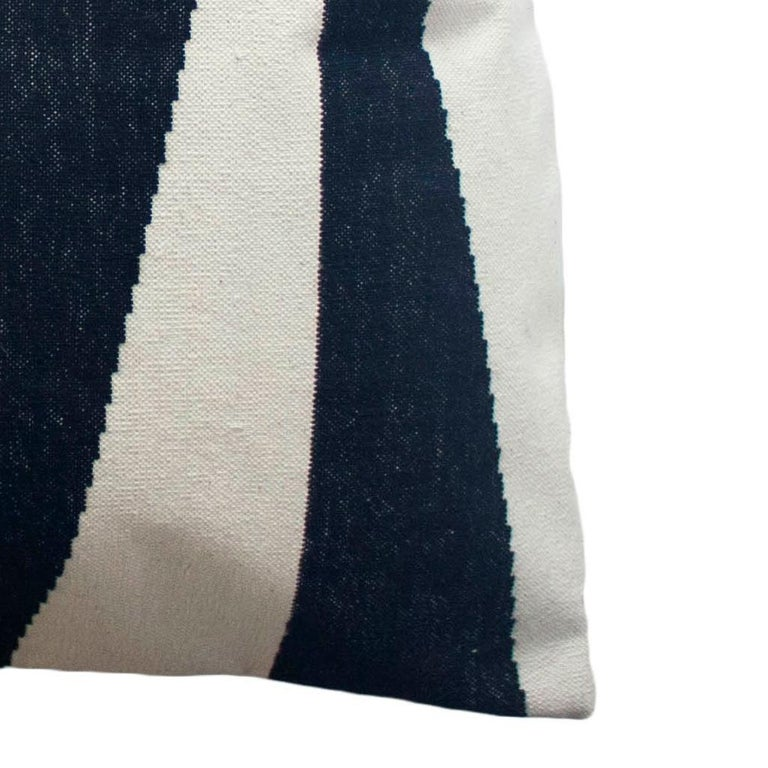 Hand-Woven Geometric Jordan Black and White Modern Throw Pillow Cover For Sale