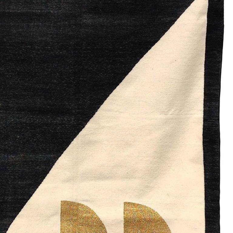 Indian Geometric Jordan Handwoven Modern Black, White, Gold Cotton Rug, Carpet & Durrie For Sale