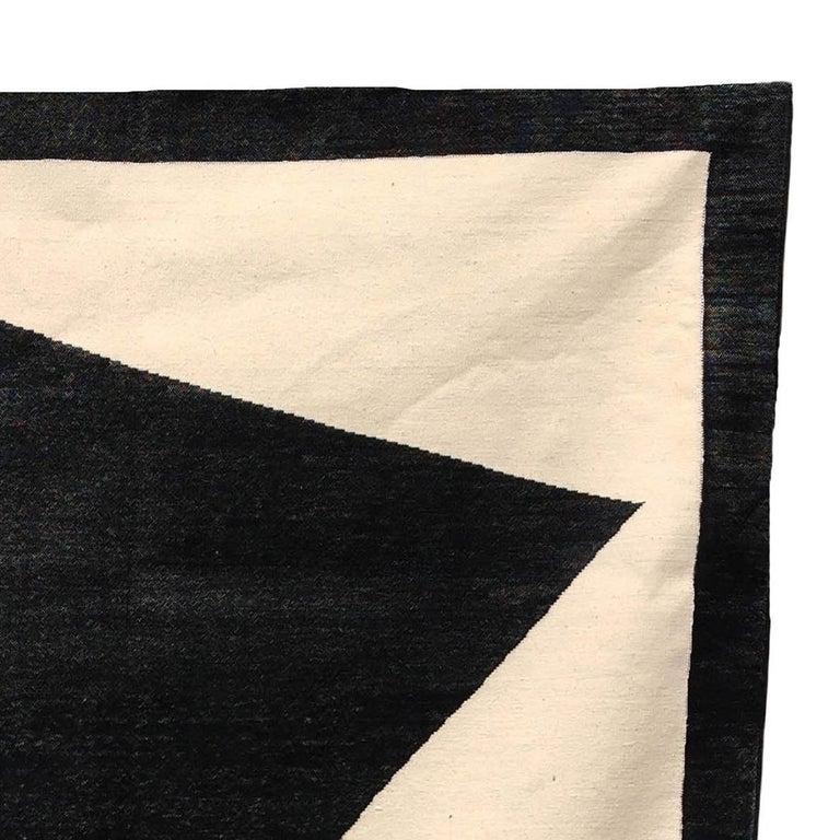 Hand-Woven Geometric Jordan Handwoven Modern Black, White, Gold Cotton Rug, Carpet & Durrie For Sale