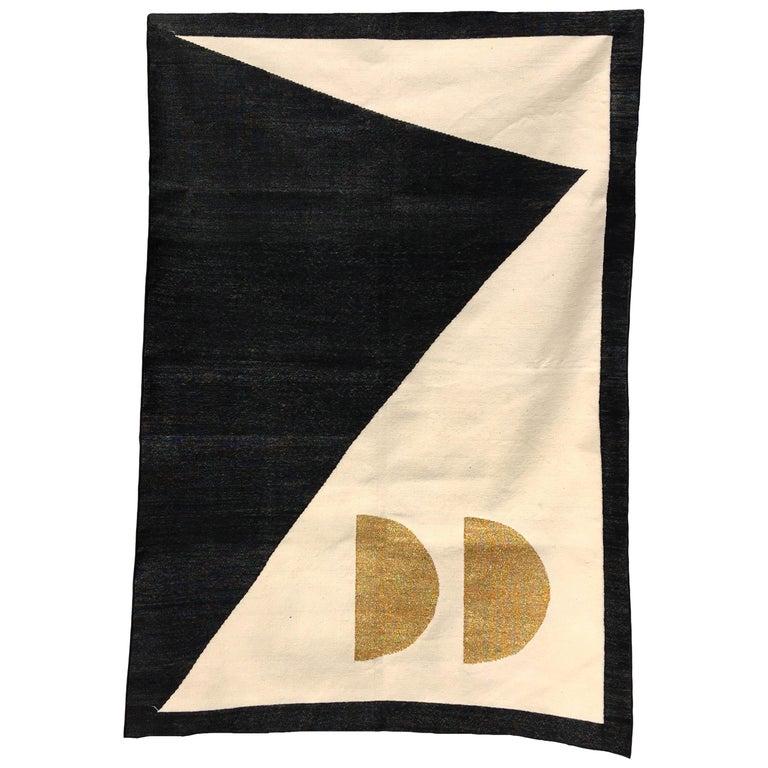 Geometric Jordan Handwoven Modern Black, White, Gold Cotton Rug, Carpet & Durrie For Sale
