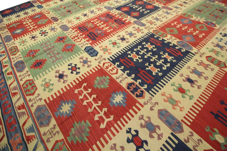 Mid-Century Modern Geometric Kilim Rug Caucasian Design Cream Blue Wool Area Rug For Sale