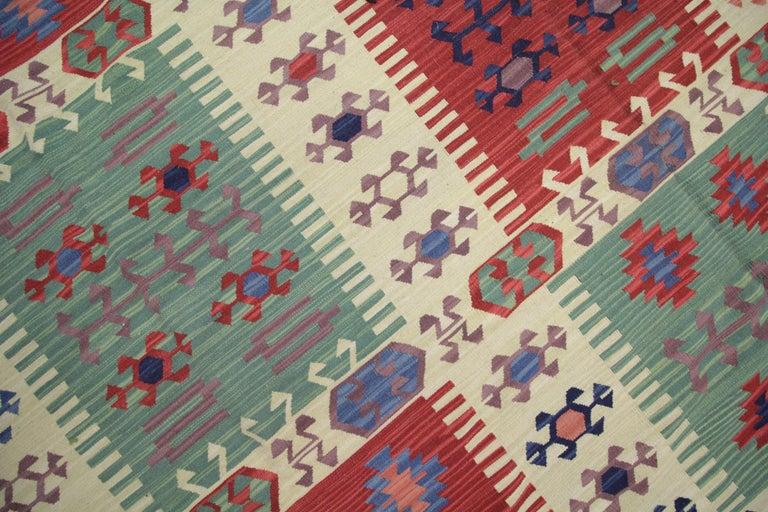 Afghan Geometric Kilim Rug Caucasian Design Cream Blue Wool Area Rug For Sale