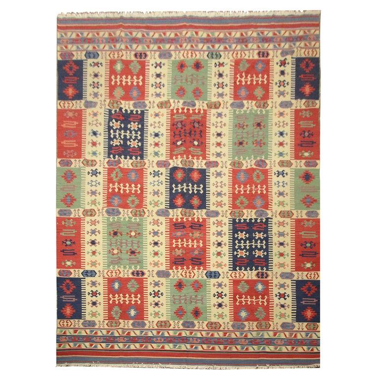 Geometric Kilim Rug Caucasian Design Cream Blue Wool Area Rug For Sale