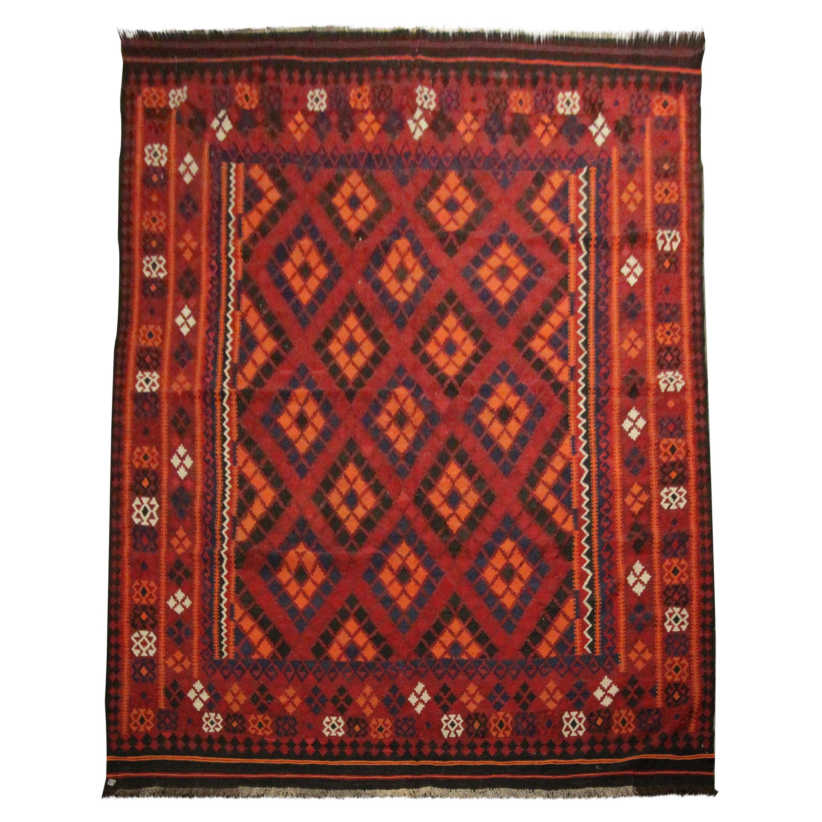 Geometric Kilim Rugs Traditional Handwoven Blue Red Wool Area Rug