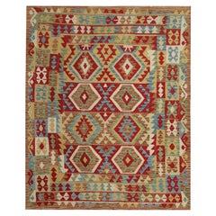 Geometric Kilims Area Rug, Flat Woven Wool Red Beige Handmade Carpet