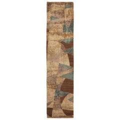 Geometric King Lear Blue and Beige Wool-Silk Runner