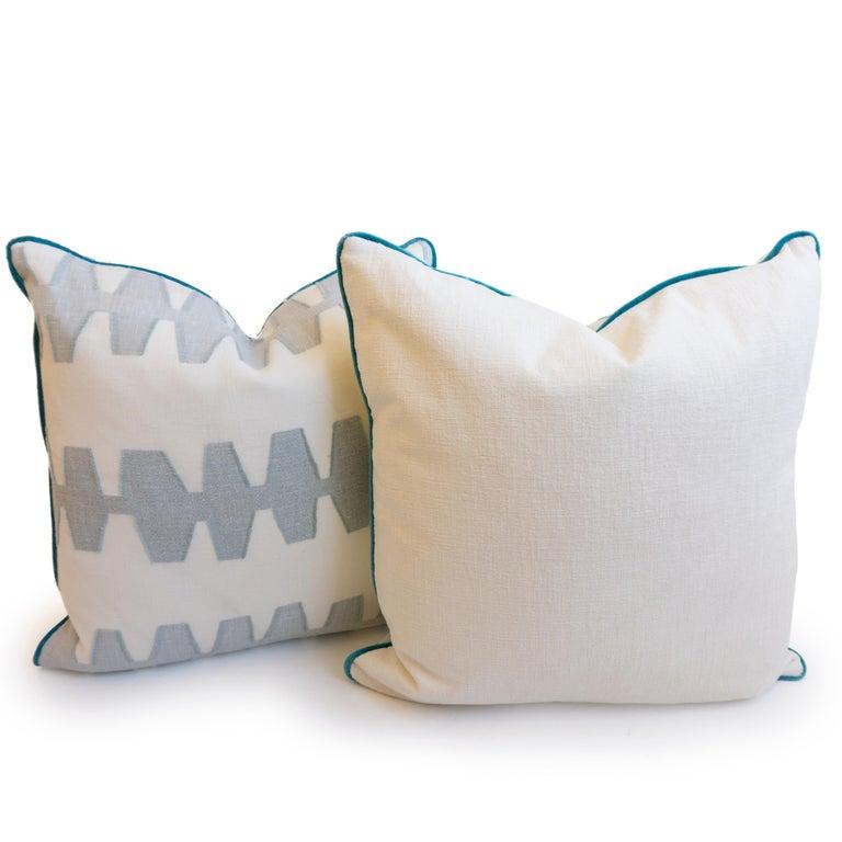 Contemporary Geometric Linen Pillows For Sale