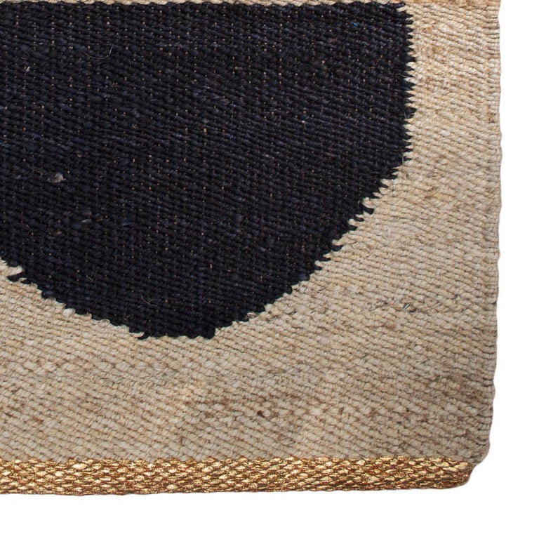Hand-Woven Geometric Lola Circle Handwoven Modern Jute Rug, Carpet and Durrie For Sale
