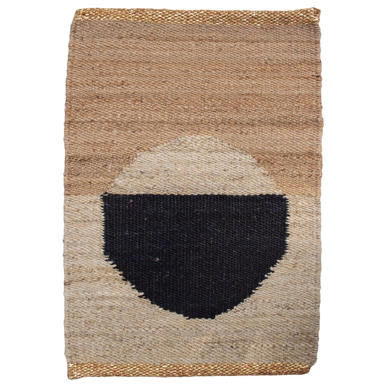 Geometric Lola Circle Handwoven Modern Jute Rug, Carpet and Durrie For Sale