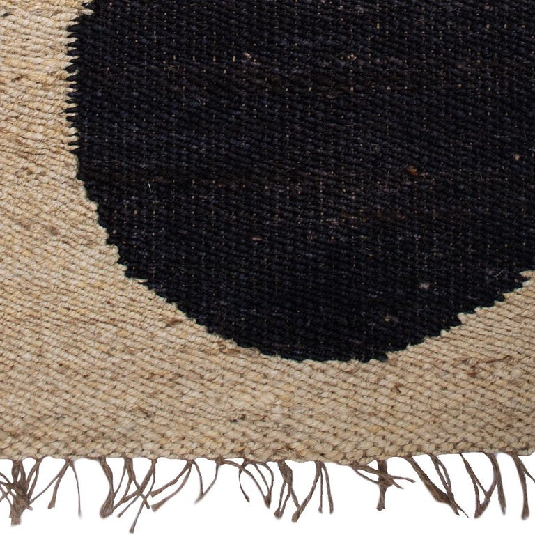 Hand-Woven Geometric Lola Circle Lines Handwoven Modern Jute Rug, Carpet and Durrie  For Sale