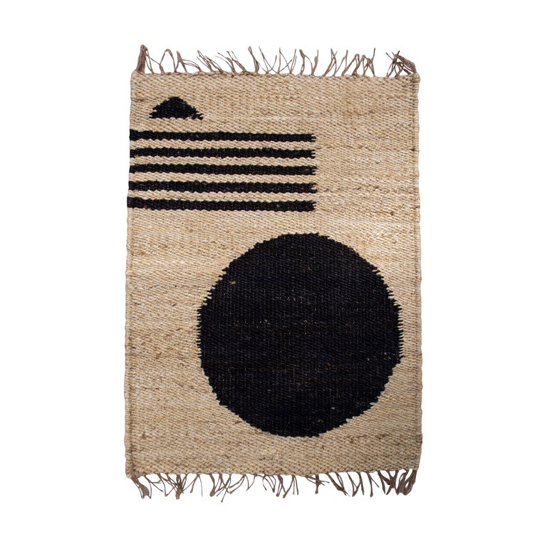 Geometric Lola Circle Lines Handwoven Modern Jute Rug, Carpet and Durrie  For Sale
