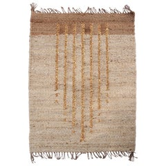 Geometric Lola Gold Lines Handwoven Modern Jute Rug, Carpet and Durrie