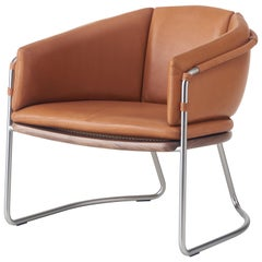 Geometric Lounge Chair in Walnut, Satin Nickel and Leather by Craig Bassam