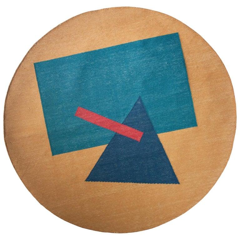 Geometric Madrid Handwoven Modern Round Rug, Carpet, Durrie For Sale