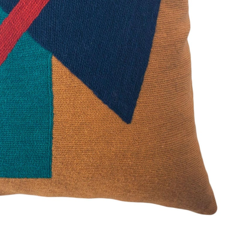 Indian Geometric Madrid Triangle Hand Embroidered Modern Throw Pillow Cover For Sale