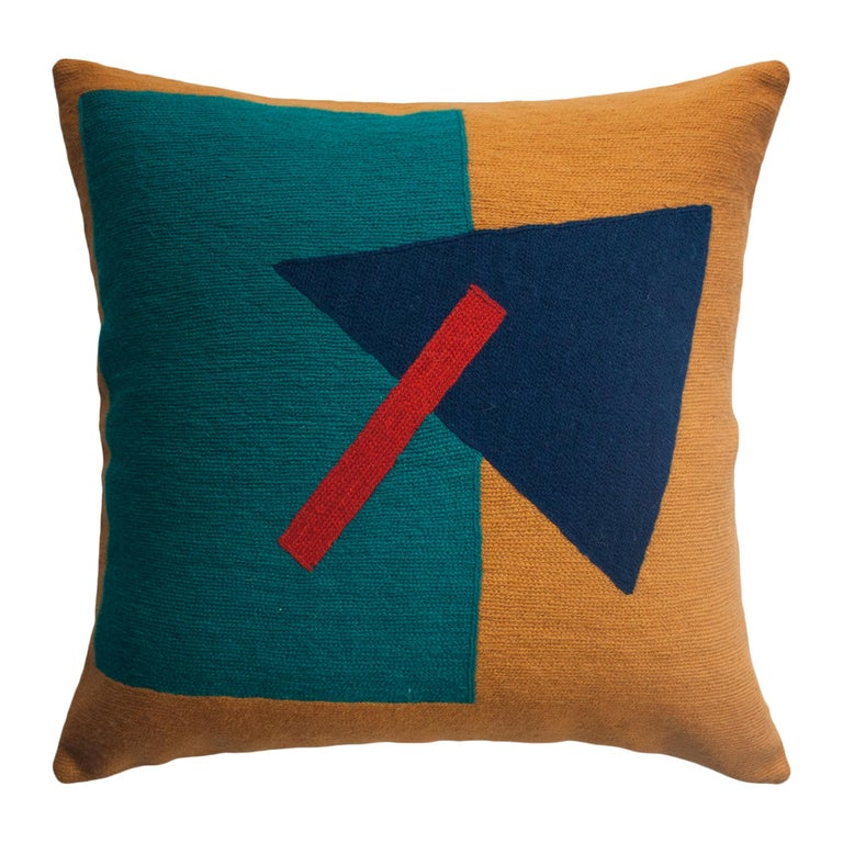 Geometric Madrid Triangle Hand Embroidered Modern Throw Pillow Cover For Sale
