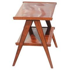 Geometric Mahogany Diagonal Feet Table Coffee Midcentury Italian Design, 1950
