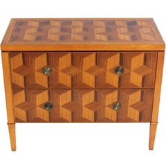 Geometric Marquetry Chest by Baker