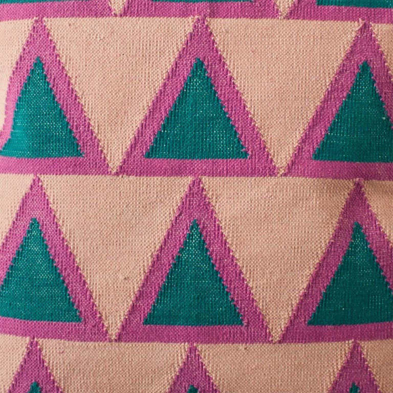 Indian Geometric Maya Light Pink Modern Throw Pillow Cover For Sale