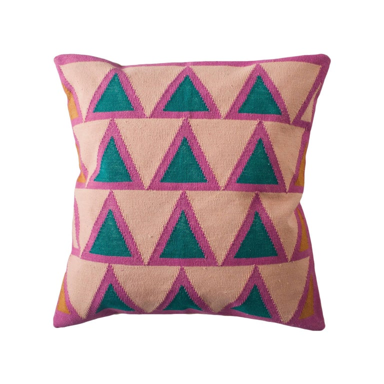Geometric Maya Light Pink Modern Throw Pillow Cover For Sale