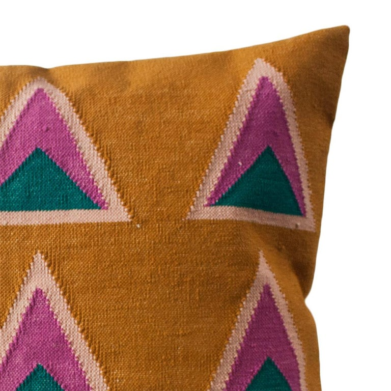 Indian Geometric Maya Ochre Modern Throw Pillow Cover For Sale