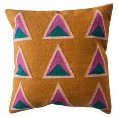 Geometric Maya Ochre Modern Throw Pillow Cover