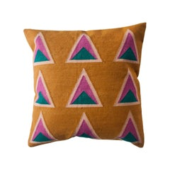 Geometric Maya Ochre Modern Throw Pillow Cover