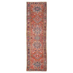 Geometric Medallion Antique Persian Heriz Runner in Brick Red and Blue