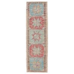 Geometric Medallion Vintage Turkish Embroidered Kilim Flat-Weave Runner