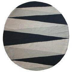 Geometrischer Midnight Handbestickter Moderner Runder Teppich