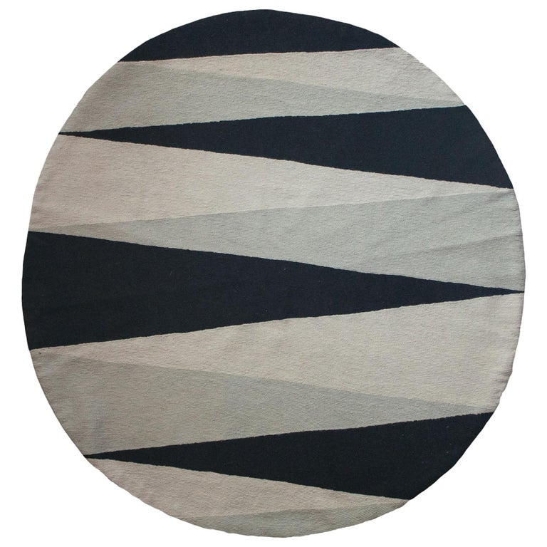 Geometric Midnight Hand Embroidered Modern Round Rug, Carpet For Sale