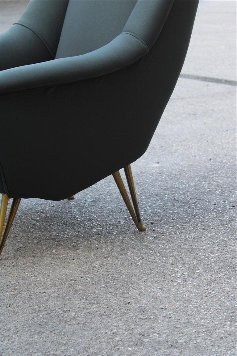 Geometric minimal Isa Bergamo armchair midcentury Italian design aluminum feet.