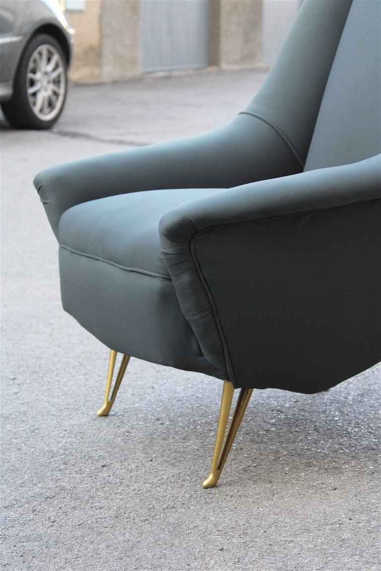 Mid-Century Modern Geometric Minimal Isa Bergamo Armchair Midcentury Italian Design Aluminum Feet For Sale