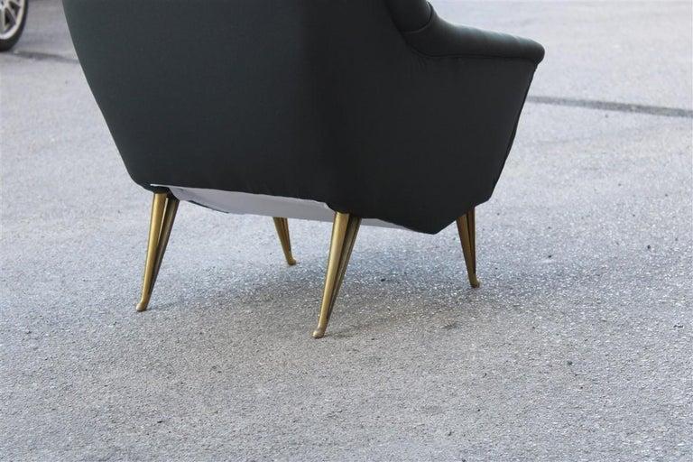 Mid-20th Century Geometric Minimal Isa Bergamo Armchair Midcentury Italian Design Aluminum Feet For Sale