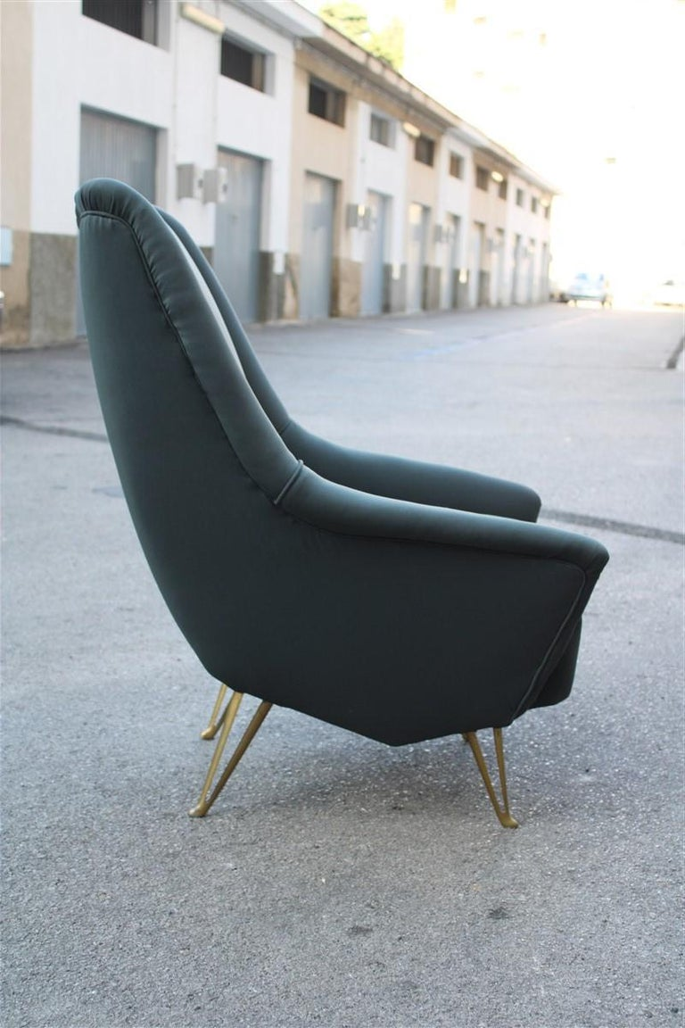 Geometric Minimal Isa Bergamo Armchair Midcentury Italian Design Aluminum Feet For Sale 1