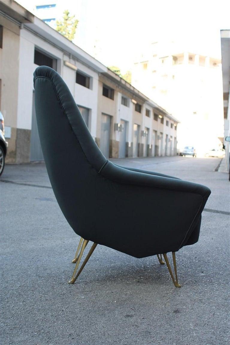 Geometric Minimal Isa Bergamo Armchair Midcentury Italian Design Aluminum Feet For Sale 2