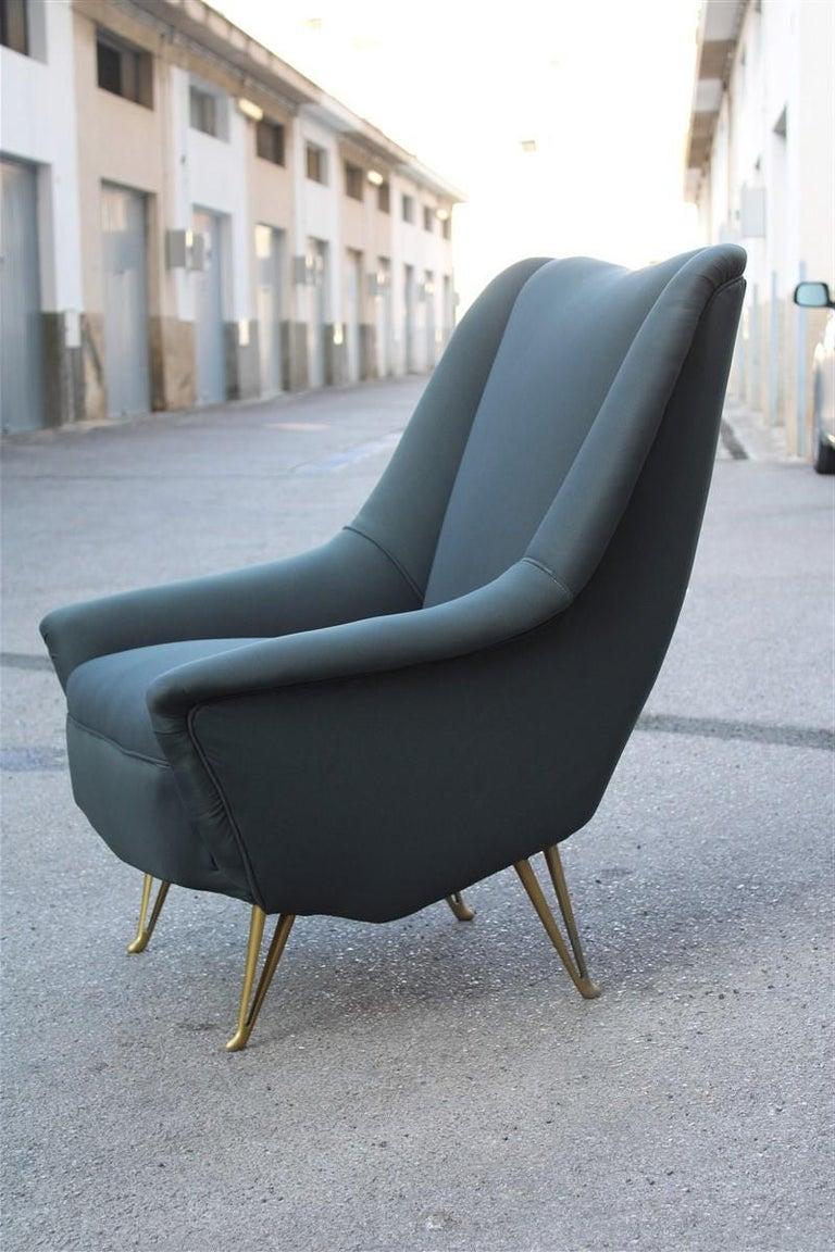 Geometric Minimal Isa Bergamo Armchair Midcentury Italian Design Aluminum Feet For Sale 3