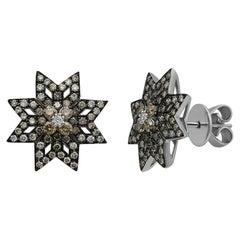 Geometric Modern Precious Star Cognac Diamond White Gold Stud Earrings