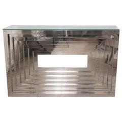 Geometric Motif Chrome Console Table